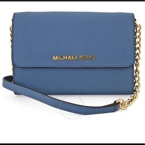 Beautiful Michael Kors wallet on chain blue!